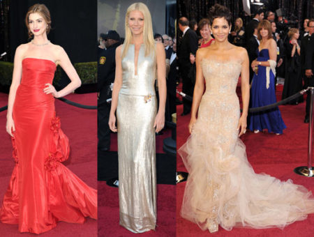 2011 Oscar Fashion Trends - Anne Hathaway in a red dress, Gwyneth Paltrow in a silver dress, and Halle Berry in a beige dress