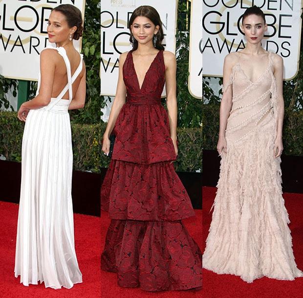2016 golden globes fashion - Alicia Vikander, Zendaya, and Rooney Mara