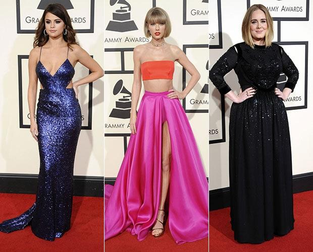 2016 Grammy Awards fashion: Selena Gomez, Taylor Swift, and Adele