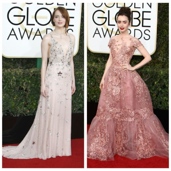 2017 Golden Globes fashion: Ruth Negga in Louis Vuitton, Emma Stone in Valentino, Lily Collins in Zuhair Murad Couture, and Millie Bobby Brown in Jenny Packham