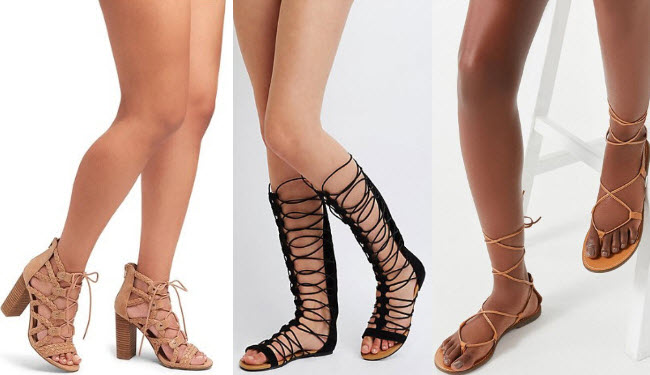 Women's gladiator sandals with tan braided strap gladiator heels, black gladiator sandals, and gold gladiator sandals.