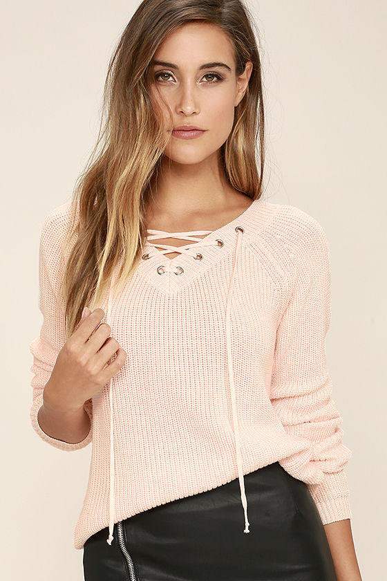 Pink Lace Up Sweater