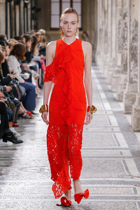 Proenza Schouler Spring 2018 look: Red maxi dress with lace detailing, red bow flats