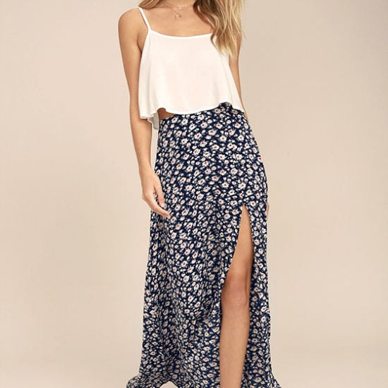 Lulu's floral high slit floral maxi skirt paired with a simple white cami
