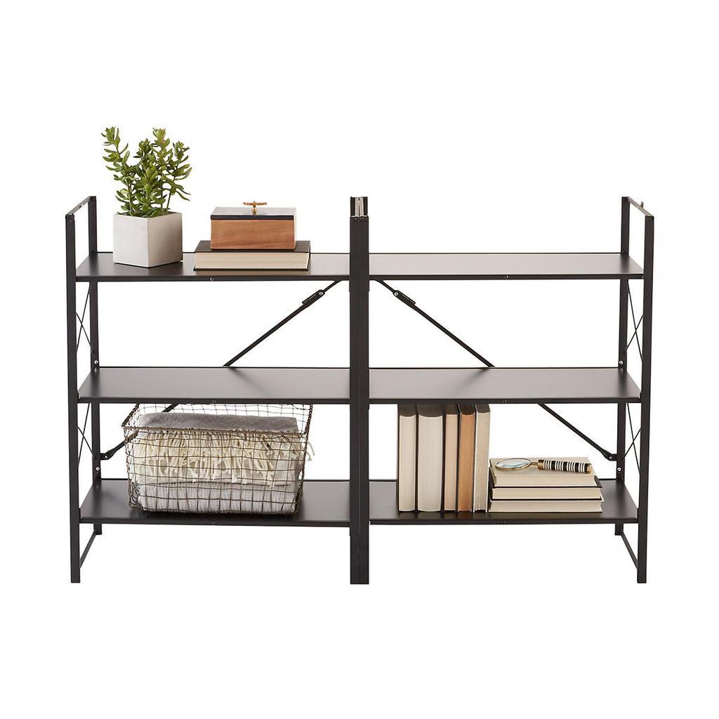 Three-tier flip horizontal and vertical bookshelf.