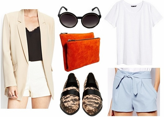 3.1 Phillip Lim resort 2014 blue shorts and tan blazer