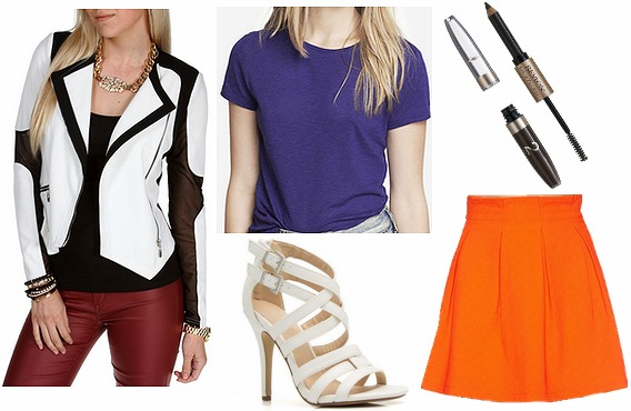3.1 Phillip Lim resort 2014 orange skirt and colorblocked jacket