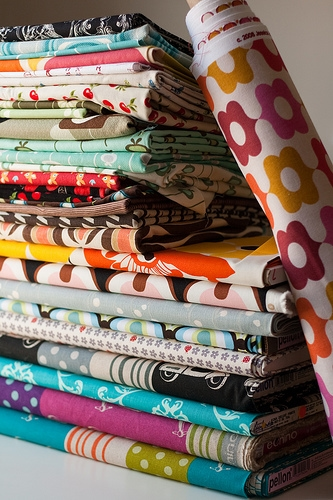 colorful fabric stack