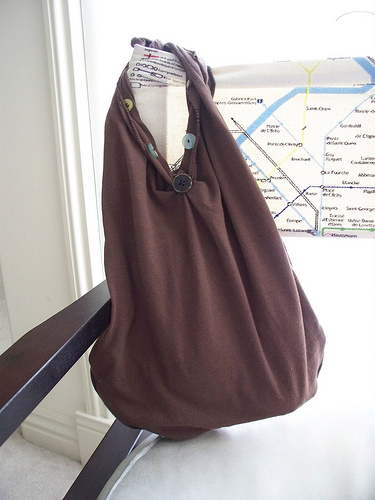 brown t shirt bag tote buttons