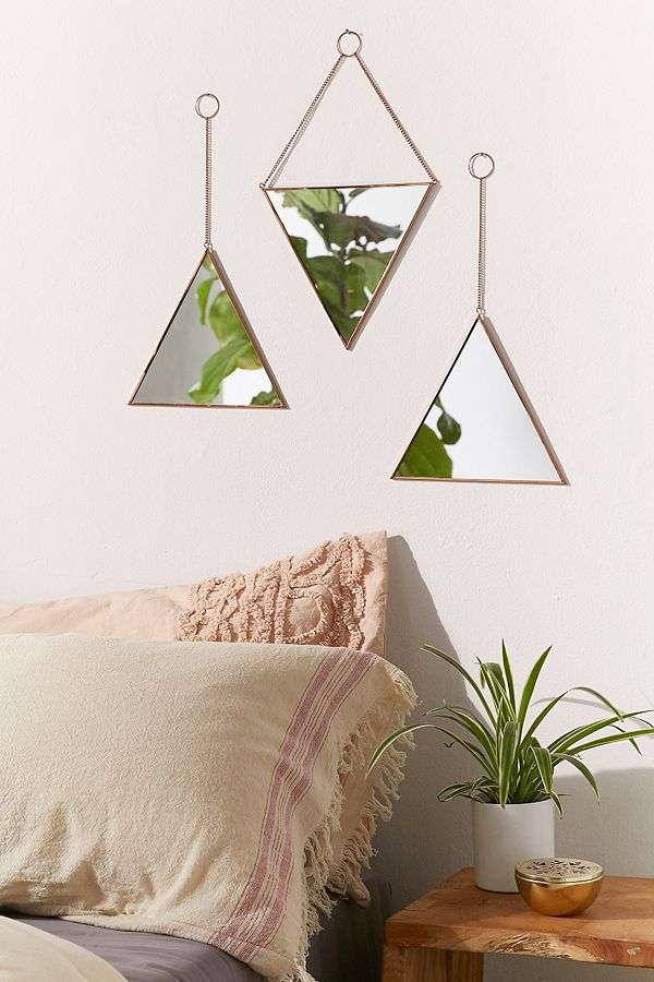 Triangle Mirrors Bed Decorating