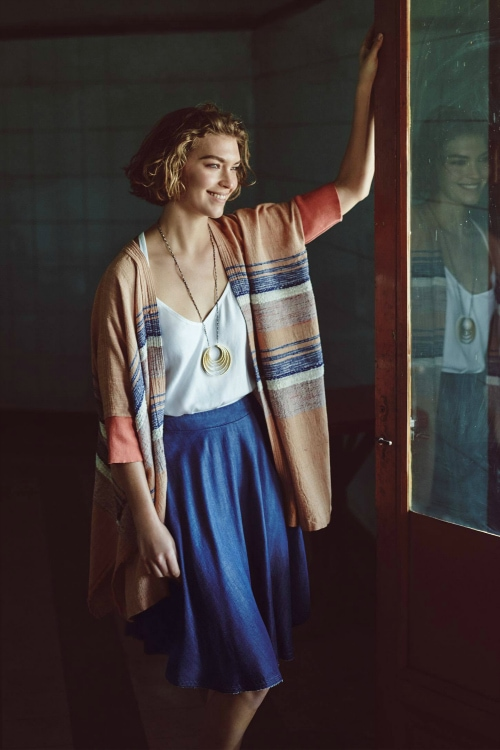 Anthropologie denim mini skirt and blanket cardigan