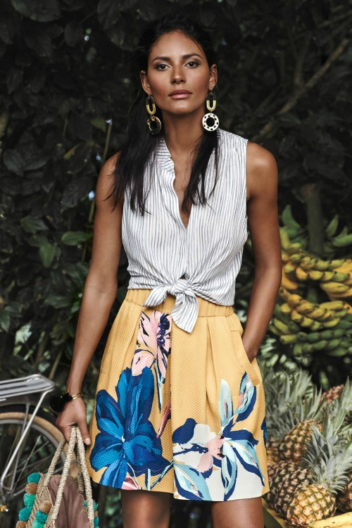 Anthropologie striped blouse and yellow floral skirt