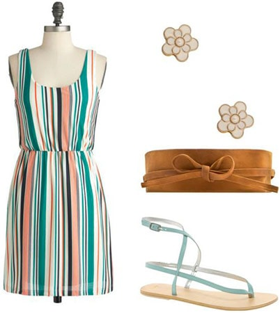 Fourth of July outfit 1: Striped dress, tie sandals, belt, earrings