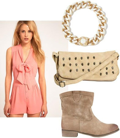Fourth of July outfit 3: Pink romper, ankle booties, necklace, cross-body bag
