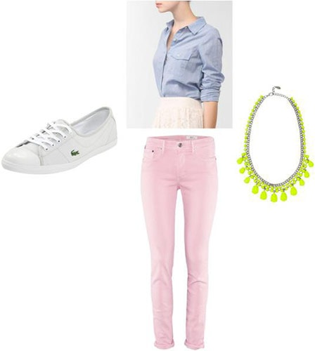 Fourth of July Outfit 4: Pink jeans, basic sneakers, chambray shirt, statement necklace