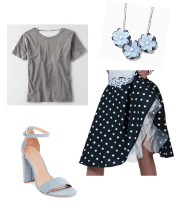How to repurpose a costume: 1950s poodle skirt worn with a gray tee shirt, pale blue statement necklace, and baby blue suede heels for a pretty outfit