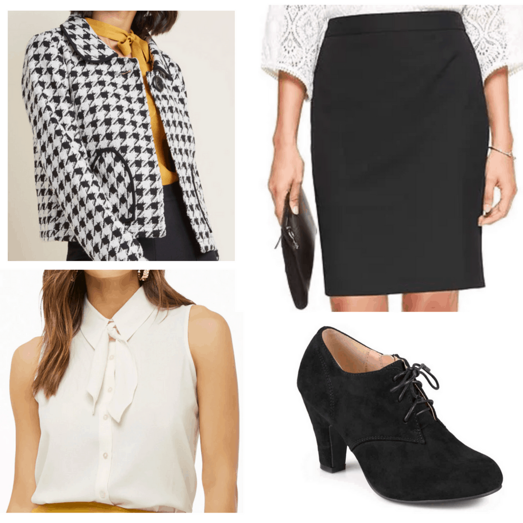 White tie neck top with black pencil skirt, houndstooth coat jacket, and oxford booties