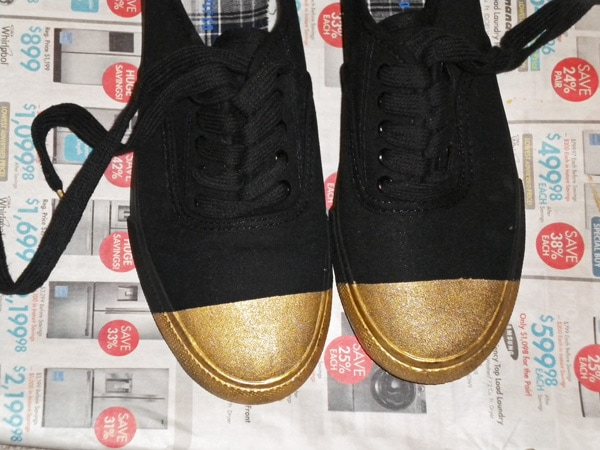 DIY Gold Tip Shoes - Step 4