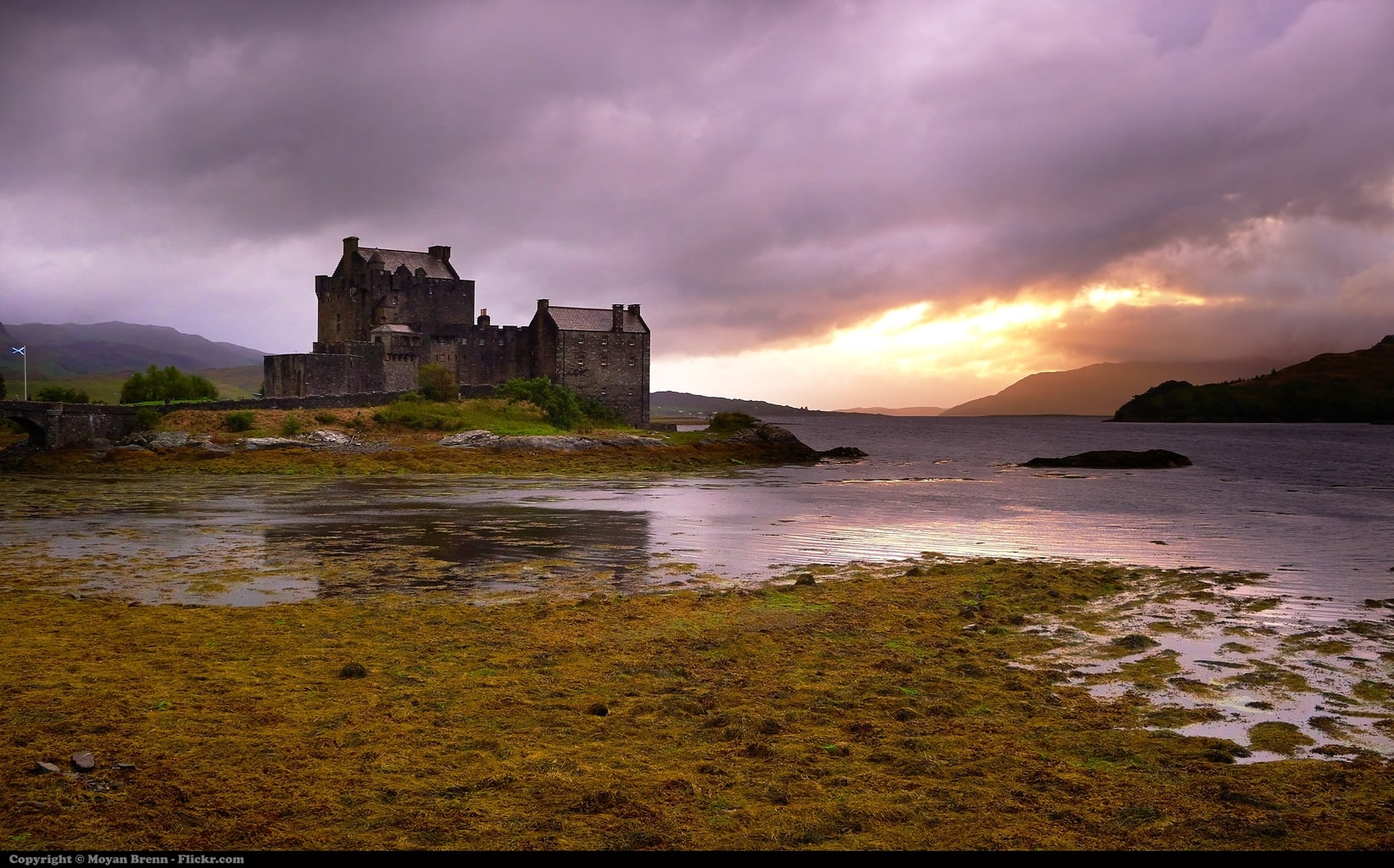 castle and sunset in scotland