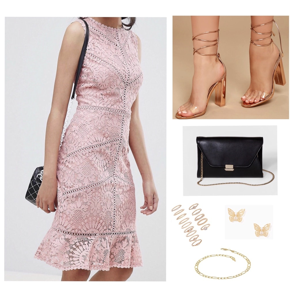 Pink lace dress with gold jewelry and heels and a black purse; wedding guest attire