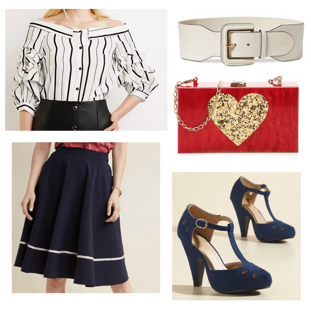 Striped white blouse with navy a-line skirt and white belt, red box handbag, and navy t-strap heels