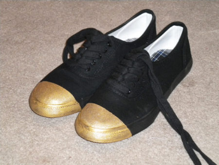 DIY Gold Tip Shoes - Finished product