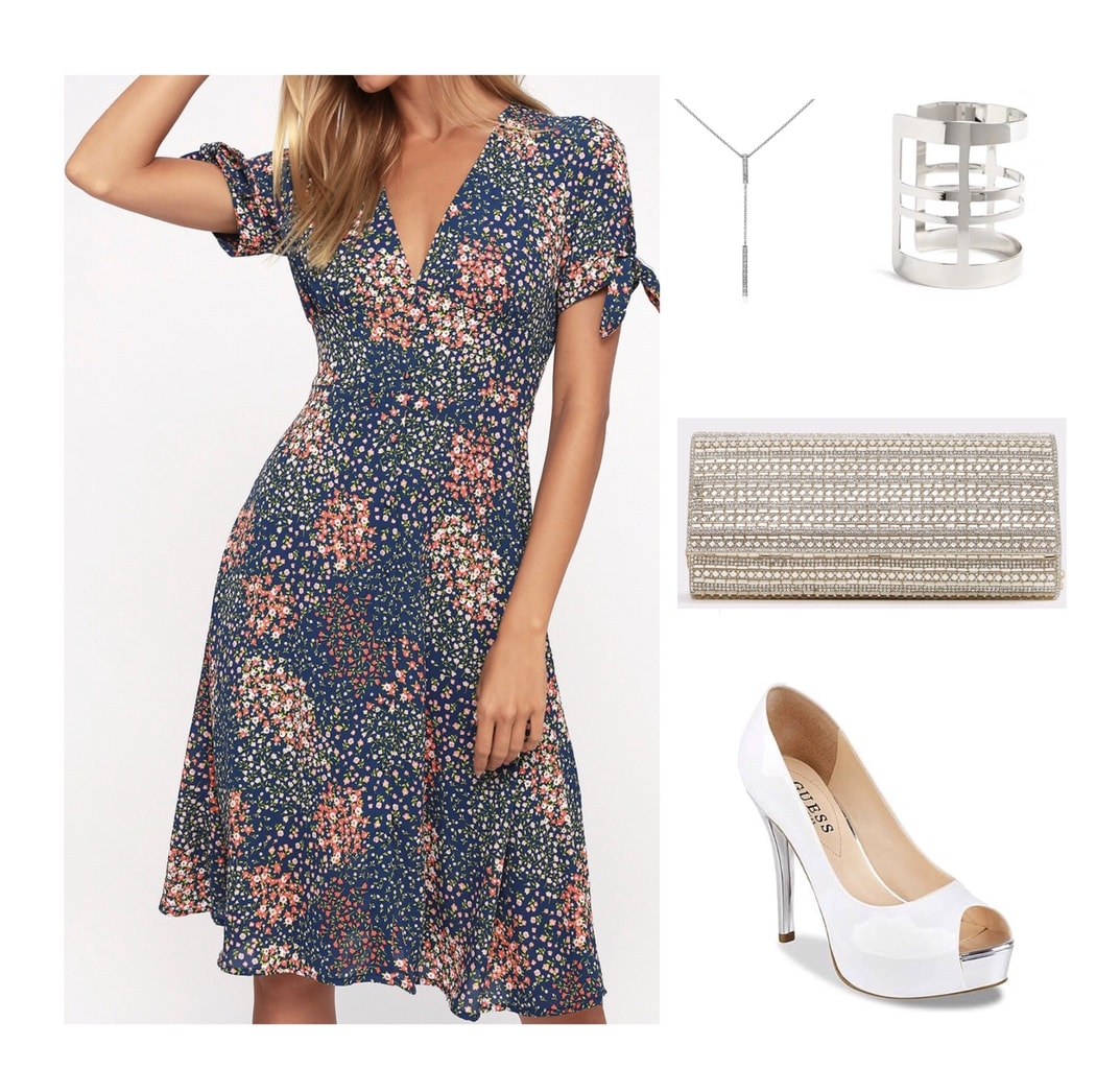 Blue floral print midi dress with white peep toe heels, and silver accents; wedding guest attire