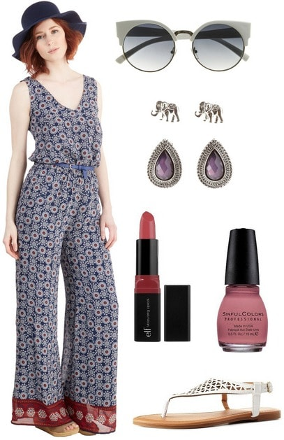 '70s-inspired jumpsuit look
