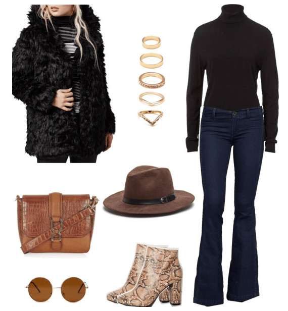 first outfit with flares and fur