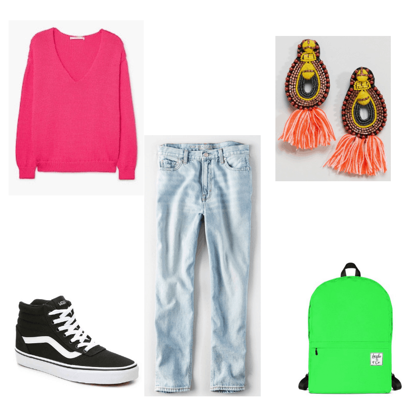 80s-inspired outfit with pink sweater, mom jeans, Vans high-tops, bead and tassel earrings, and green backpack