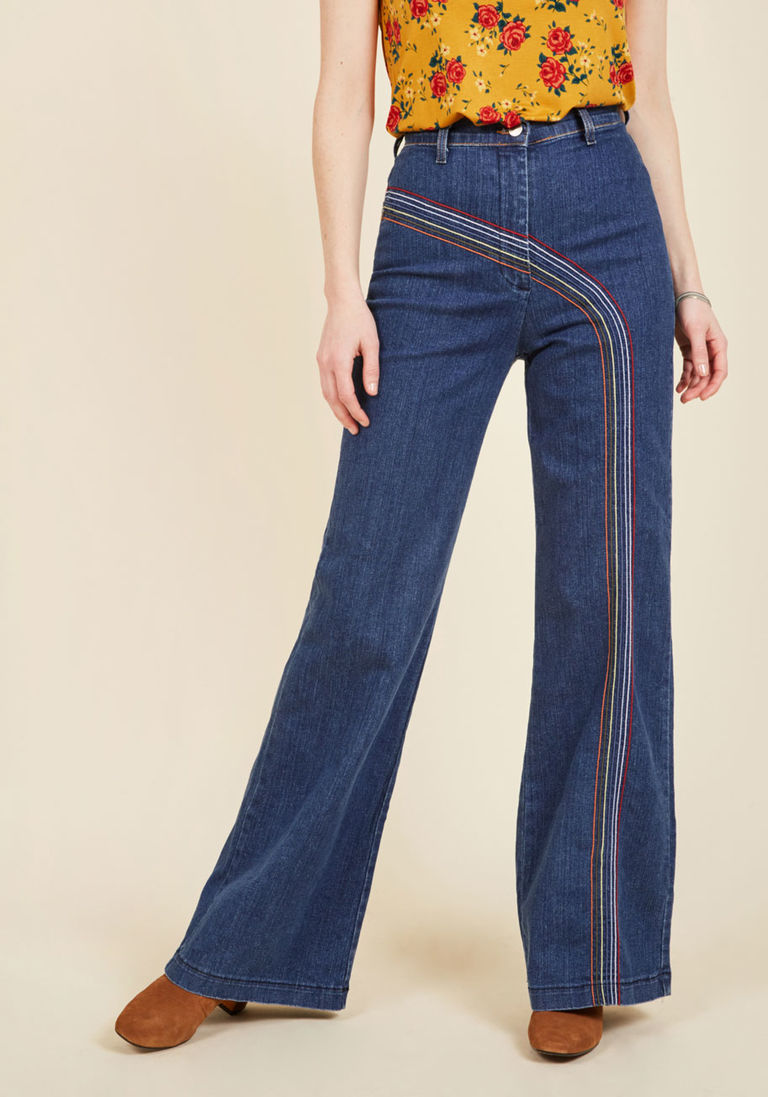 Rainbow flare jeans from Modcloth