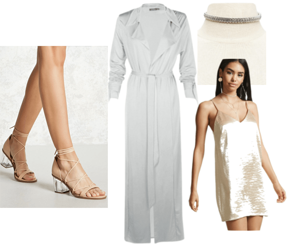 90s inspired outfit idea: Gold slip dress, silver duster trench, lucite heel lace up shoes, jeweled choker