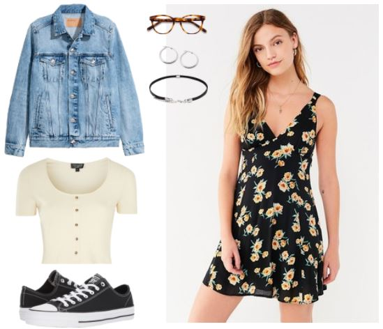 90's Style: Light Denim Jacket, Short Sleeve Crop Top, Converse, Floral Sun Dress, Choker, Hoop Earrings; Tortoise Horn Round Glasses