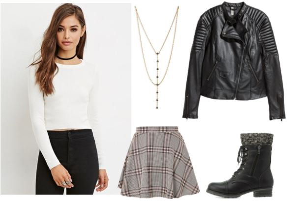 90's Style: White Sweater; Grey Plaid Skirt; Combat boots; Biker Jacket; Long Necklace
