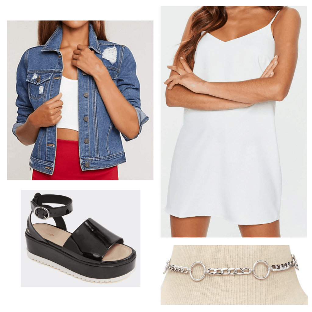 White textured slip dress with distressed demin jacket, silver chain choker, and black platform sandals