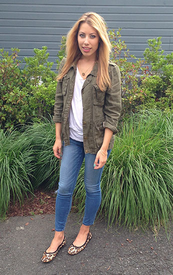 Outfit of the day for back to school: A+F jeggings, military jacket, white tee, necklace, cheetah flats