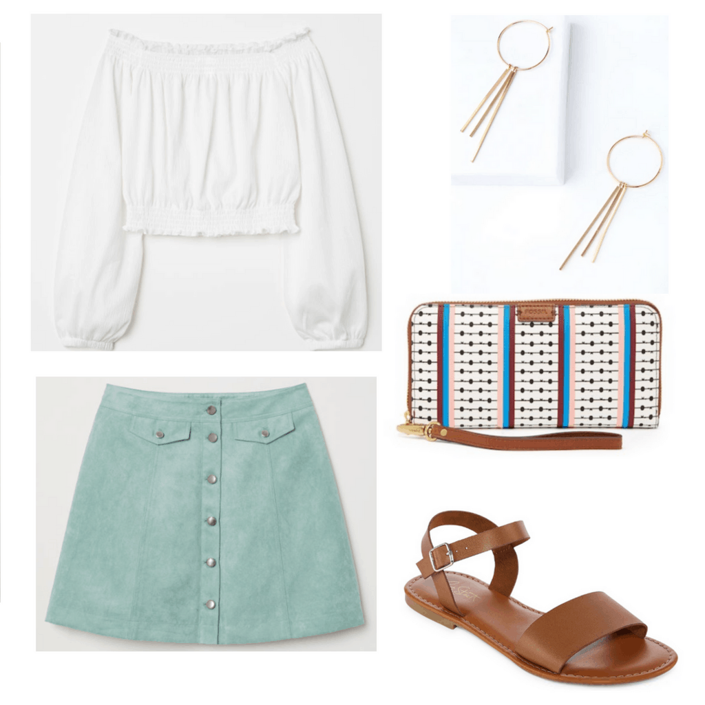 white off the shoulder top, mint button up skirt, gold hoop earrings, white patterned wristlet, brown sandals