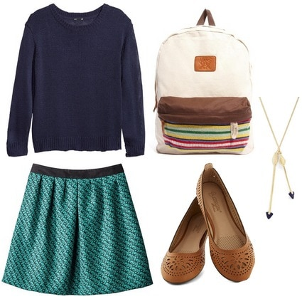 A line skirt and sweater outfit