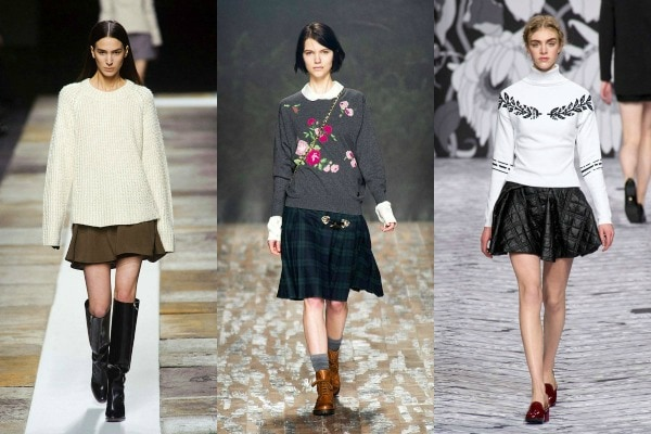 A line skirts and sweaters on the fall 2013 runways
