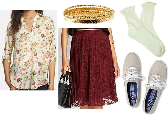 A Walk to Remember Jamie floral blouse red skirt look