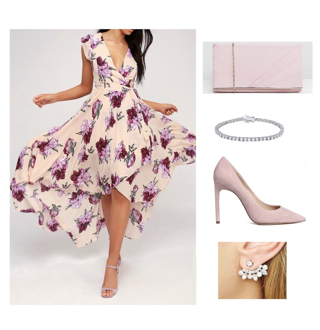 Pink floral dress with stilettos, clutch bag and jewelry; wedding guest attire
