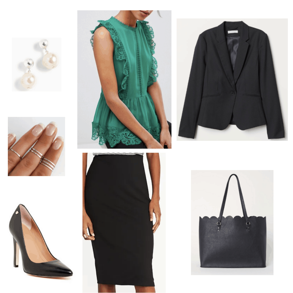 business casual outfit black skirt suit with pop of color green lace blouse black blazer black pencil skirt pearl earrings silver stacked rings black pumps black scalloped bag outfit
