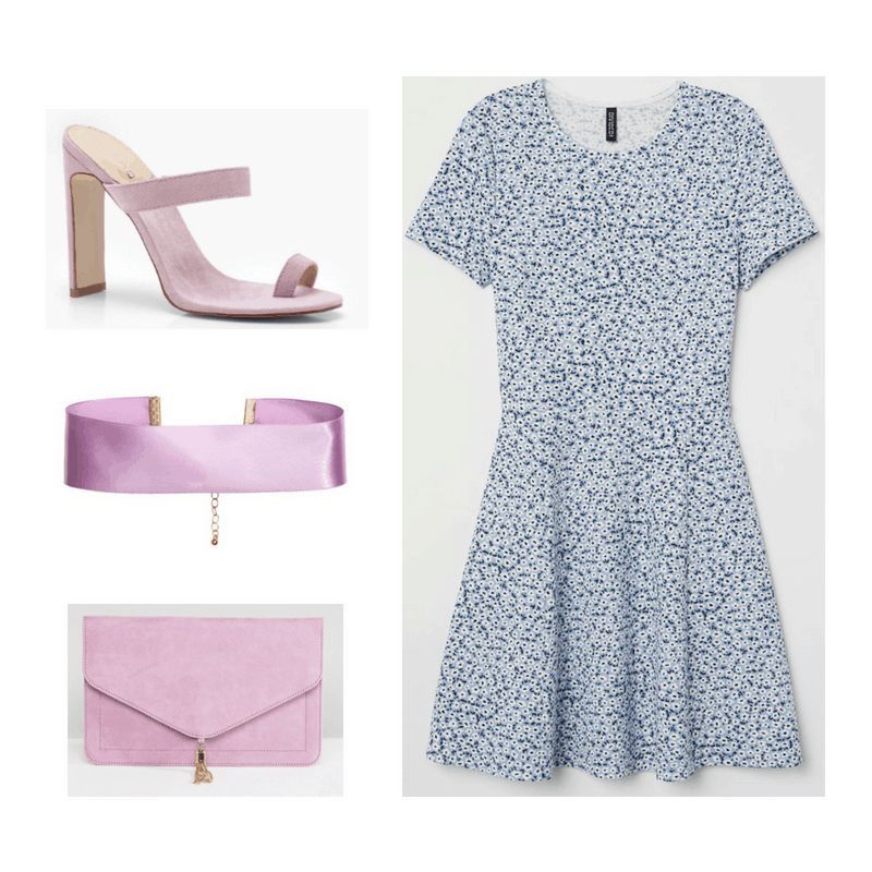 An outfit set of a blue and white floral dress and lavender open toe heels, satin choker, and clutch.