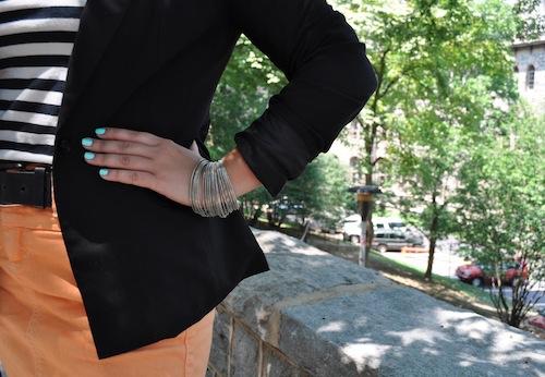 Silver bangles and Tiffany blue nail polish