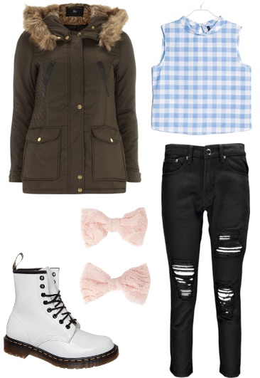 gingham shirt and parka look