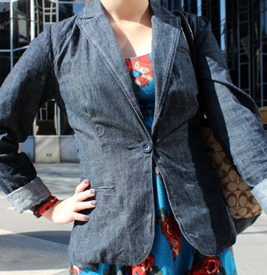 Street fashion at Point Park University: Denim blazer trend