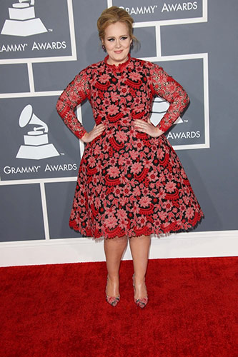Adele in Custom Valentino Couture at the 2013 Grammys