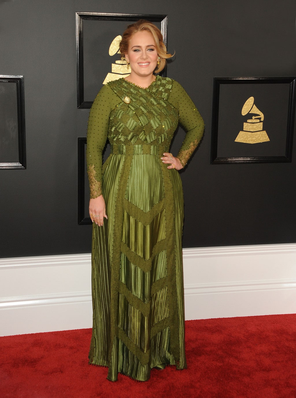 Adele in Givenchy Haute Couture green gown at the 2017 Grammy Awards