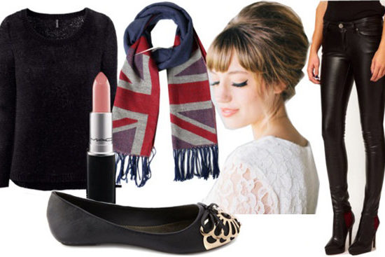 "Outfit inspired by Adele's ""Skyfall"" - Black sweater, union jack scarf, lace top, shorts and tights, flats"