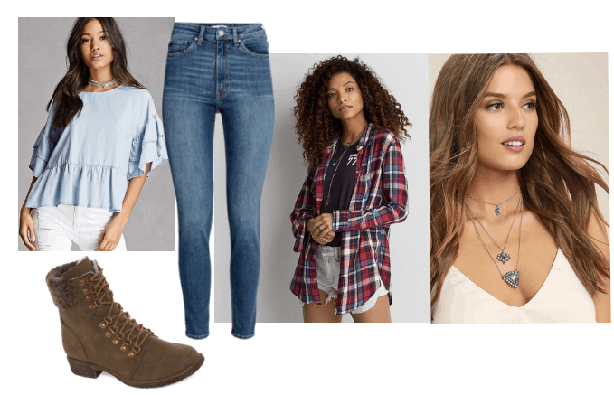outfit inspired by adult jodie from beyond two souls video game: brown combat boots, red and blue checkered flannel, high waisted skinny jeans, layered necklaces, blue ruffle top